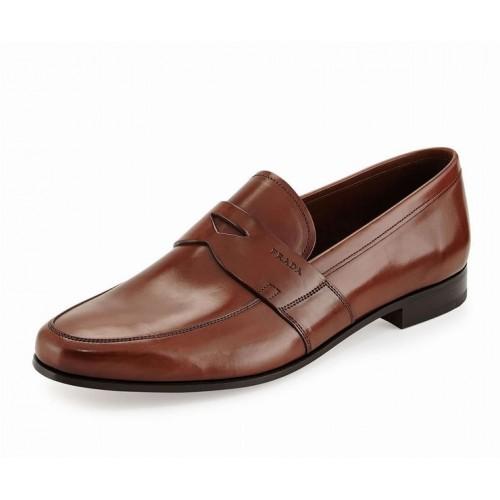 Giày Da Prada Nam Smooth Da Nâu Loafer Cao Cấp Xách Tay