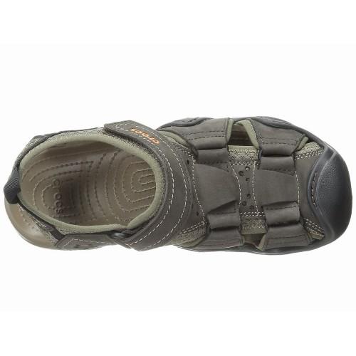 Giày Rọ Crocs Swiftwater Da Nam Fisherman Cao Cấp