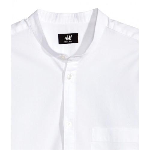 Áo Sơ Mi H&M Nam Collarless Trắng Tay Dài Phong Cách