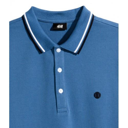 Áo Thun H&M Nam Polo Tay Ngắn Xanh Chính Hãng