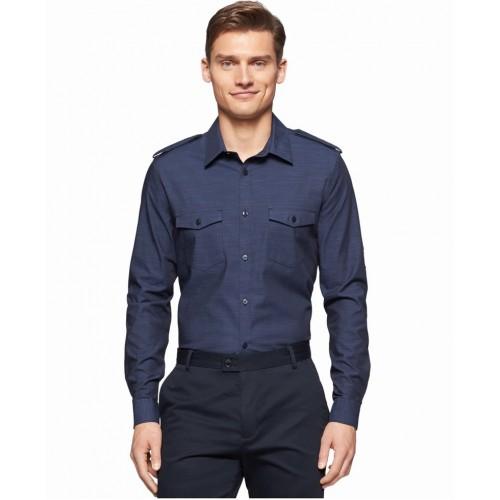 Áo Sơ Mi Calvin Klein Slub Twill Double Pocket Tay Dài Cao Cấp