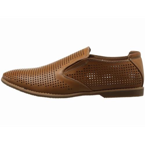 Giày Lười GBX Nam Krown Da Đục Lỗ Nâu Hàng Hiệu