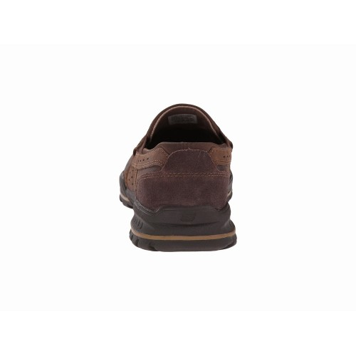 Giày Mọi Skechers USA Nam Vorlez Hopeton Da Nâu Hàng Hiệu