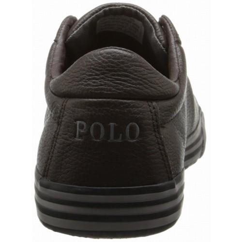 Giày Thể Thao Polo Ralph Lauren Harvey Nam Da Nâu Hàng Hiệu