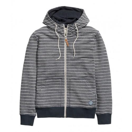 Áo Khoác Nam H&M Hooded Xanh Sọc Ngang Chính Hãng