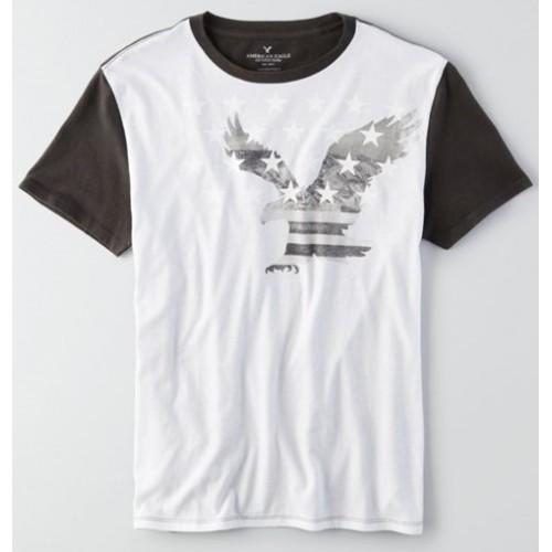 Áo Thun Nam American Eagle Đen Trắng Signature Thời Trang