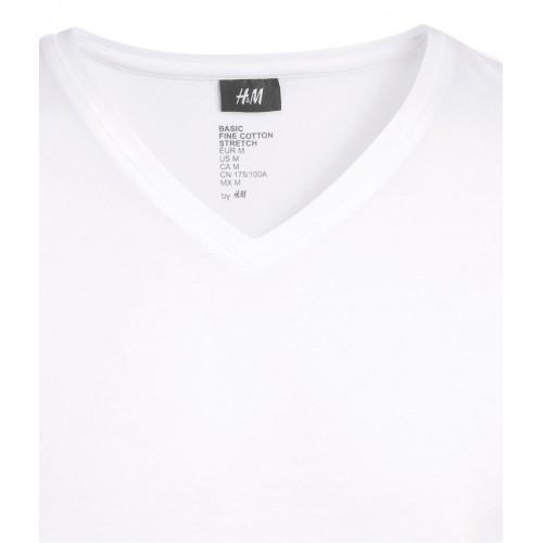 Áo Phông Nam H&M Stretch Trắng Cổ Tim Cao Cấp
