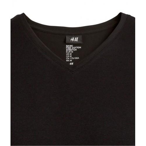 Áo Thun Nam H&M Stretch Đen Tay Ngắn Xách Tay