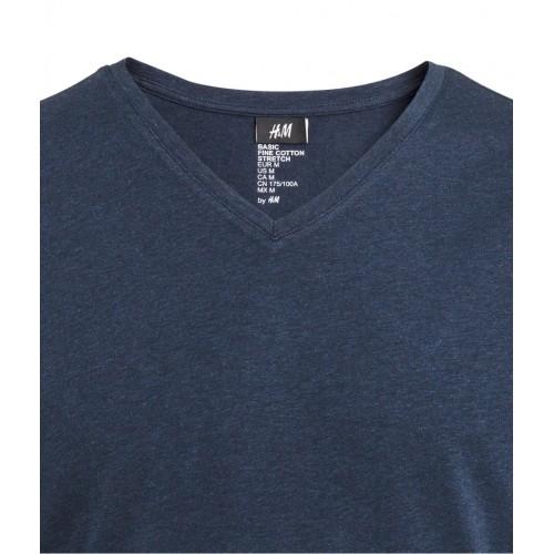 Áo Phông Nam H&M Stretch Xanh Navy Cổ Chữ V Nhập Khẩu