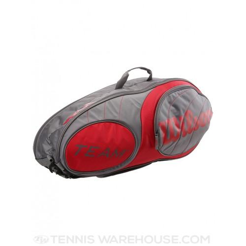 Túi Tennis Wilson Team Gunmetal/Red 6-Pack Xách Tay
