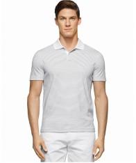 Áo Thun Polo Calvin Klein Nam Interlock Trắng Tay Ngắn
