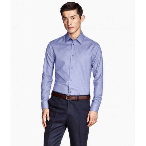 Áo Sơ Mi Nam H&M Premium Dáng Slim Xanh Vải Cao Cấp
