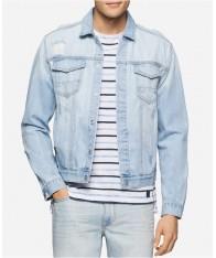 Áo Khoác Nam Calvin Klein Jeans Bleached Ripped Denim Hàng Hiệu