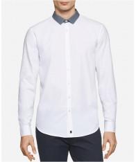 Áo Sơ Mi Nam Tay Dài Calvin Klein Contrast-Trim Hàng Hiệu