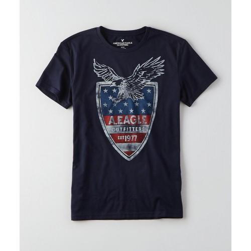 Áo Thun American Ealge Signature Graphic Xanh Đen Tay Ngắn