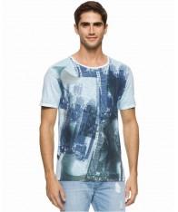 Áo Thun Nam Calvin Klein Jeans Cityscape Xanh Họa Tiết