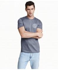 Áo Thun Nam H&M Printed Design Xám Hàng Hiệu