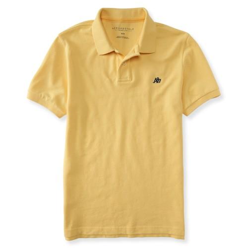Áo Polo Nam Aeropostale Solid Logo Piqué Vàng Nhạt