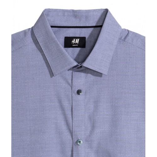 Áo Sơ Mi H&M Nam Cotton Dáng Slim Xanh Tay Dài