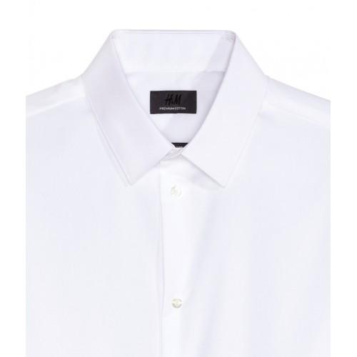 Áo Sơ Mi Nam H&M Premium Vải Cotto Trắng Chính Hãng