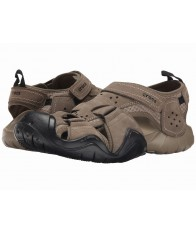 Giày Sandal Crocs Swiftwater Leather Fisherman Nâu Hàng Hiệu