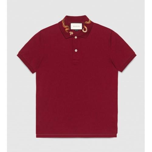 Áo Thun Nam Gucci Cotton Polo Snake Embroidery Chính Hãng