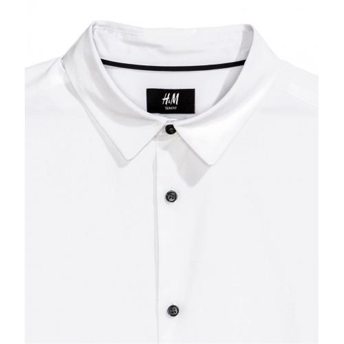 Áo Sơ Mi H&M Nam Lyocell Blend Trắng Tay Dài
