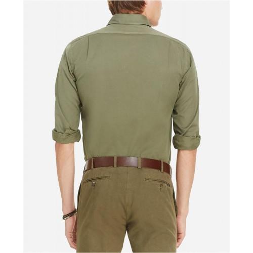 Áo Sơ Mi Polo Ralph Lauren Garment-Dyed Xanh Rêu Tay Dài
