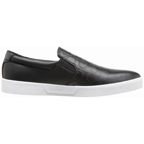 Giày Lười Calvin Klein Ivo Brushed Da Đen Thể Thao