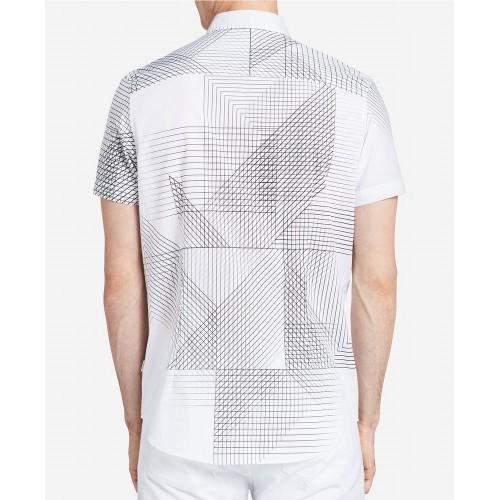 Áo Sơ Mi Calvin Klein Nam Linear-Print Chất Đẹp Hàng Nhập