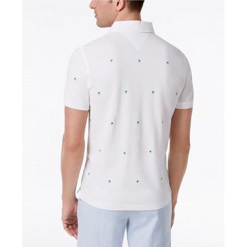 Áo Thun Polo Tommy Hilfiger Màu Trắng Họa Tiết Cây Dừa Độc Đáo
