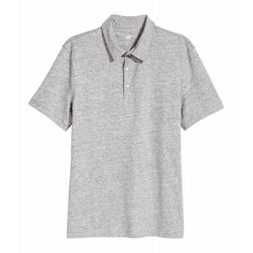 Áo Thun Polo Nam HM Dáng Slim Màu Xám Nhạt Hàng Nhập