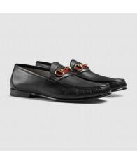 Giày Lười Gucci Nam Horsebit Chất Da Đen Hàng Nhập Mỹ