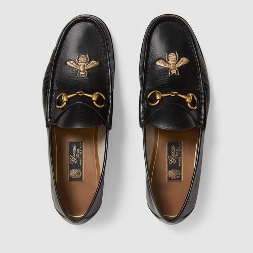 Giày Lười Gucci Chất Da Họa Tiết Thêu Ong Hàng Nhập Mỹ