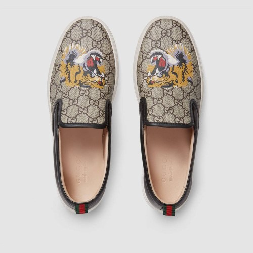 Giày Sneaker Gucci Chất Da Và Vải In Họa Tiết Hổ Chính Hãng