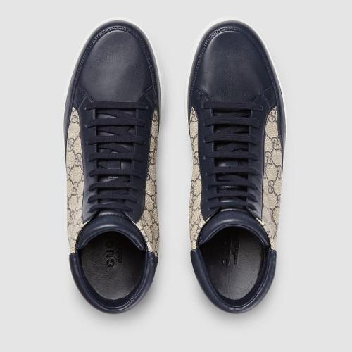 Giày Sneaker Cao Cổ Gucci Chất Da Vải Họa Tiết Hàng Nhập