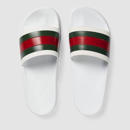 Dép Slide Gucci Nam Họa Tiết GG Quai Xanh Đỏ Đẹp