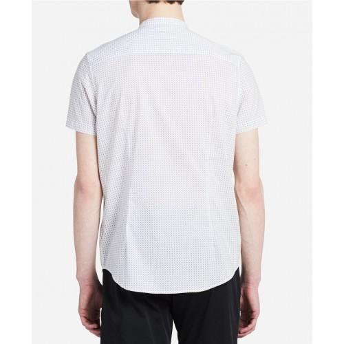 Áo Sơ Mi Nam Calvin Klein Trắng Cổ Trụ Chấm Bi Dáng Classic