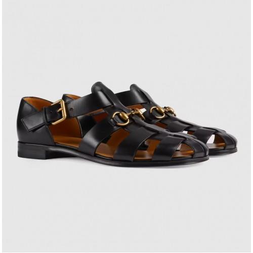 Giày Sandal Nam Gucci Chất Da Logo Móng Ngựa