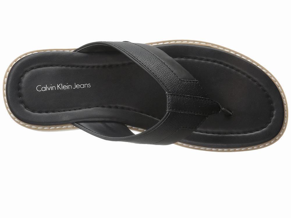 Dép Kẹp Da Nam Đen Calvin Klein Jeans Nester Xách Tay