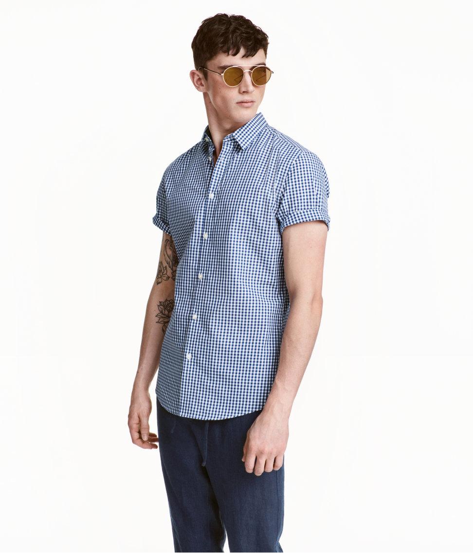 Áo Sơ Mi Nam Tay Ngắn H&M Easy-iron