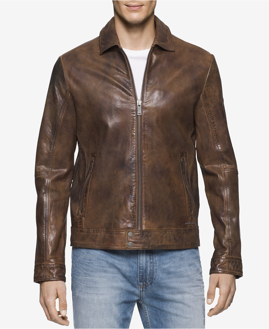áo khoác da Calvin Klein nam Vintage Wash Bomber