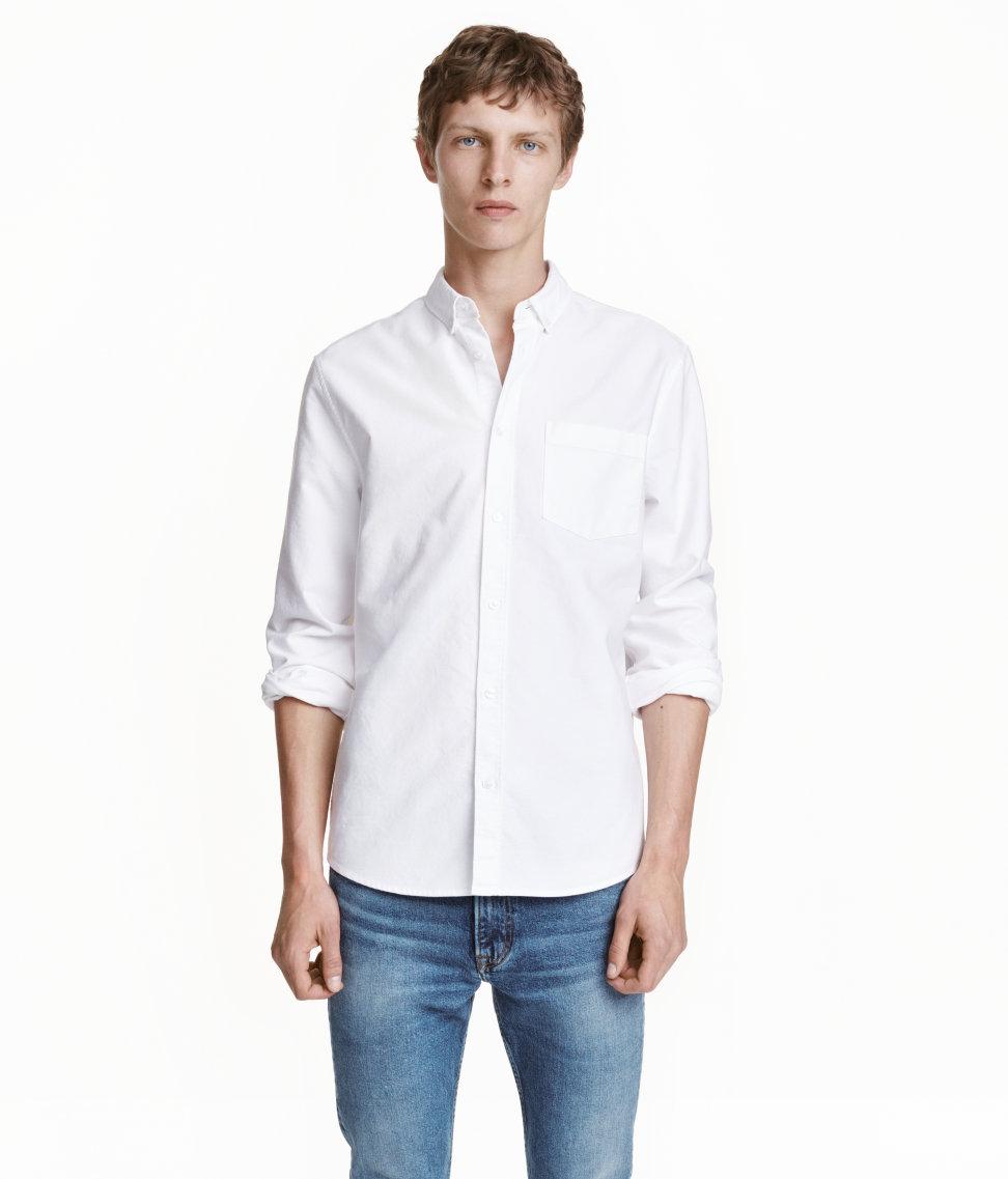 Áo Sơ Mi Nam H&M oxford màu trắng