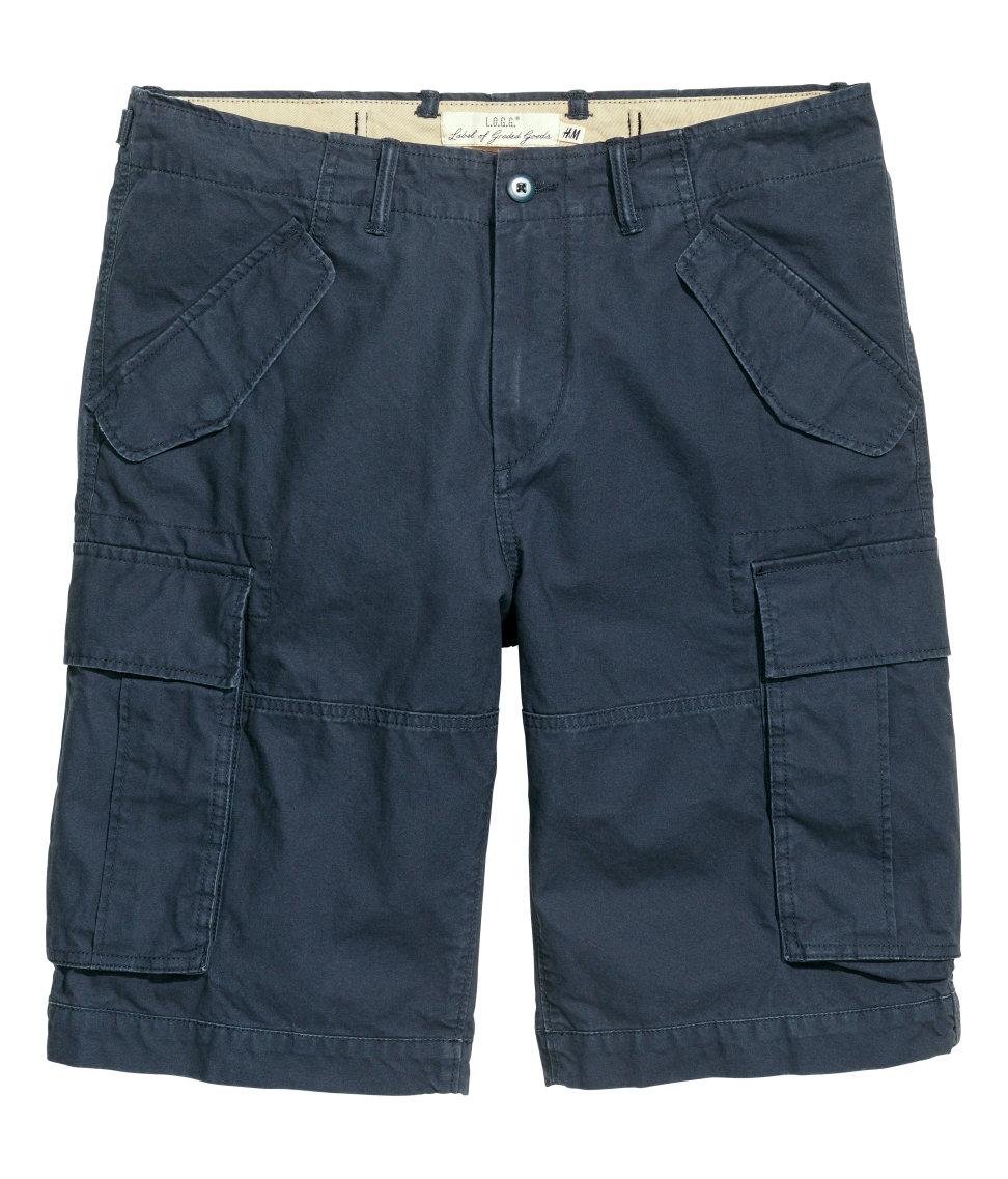 quần short HM Cargo nam xanh navy