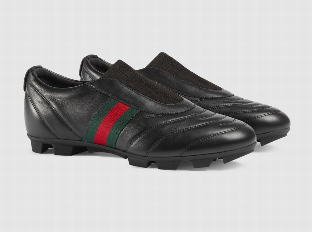 giày slip-on Gucci nam da tự nhiên Web thể thao chính hãng