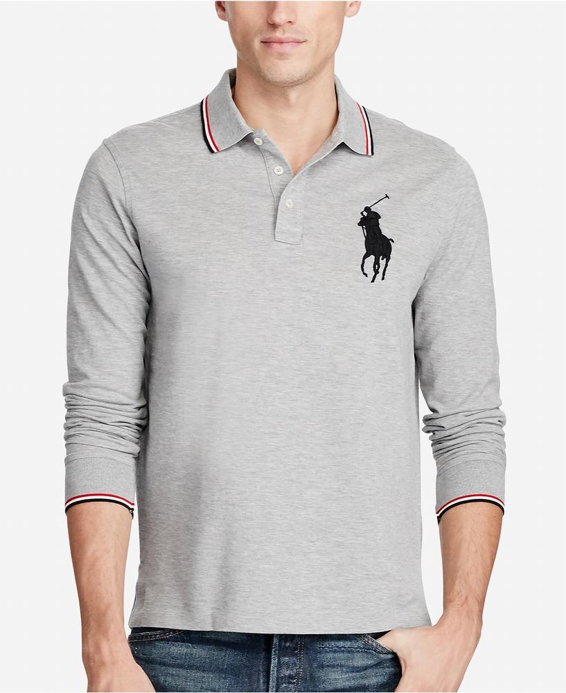 áo polo tay dài Polo Ralph Lauren Mesh Big Pony chính hãng