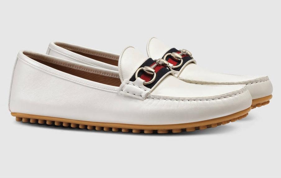 giày mọi Gucci Leather driver Web da tự nhiên hàng authentic