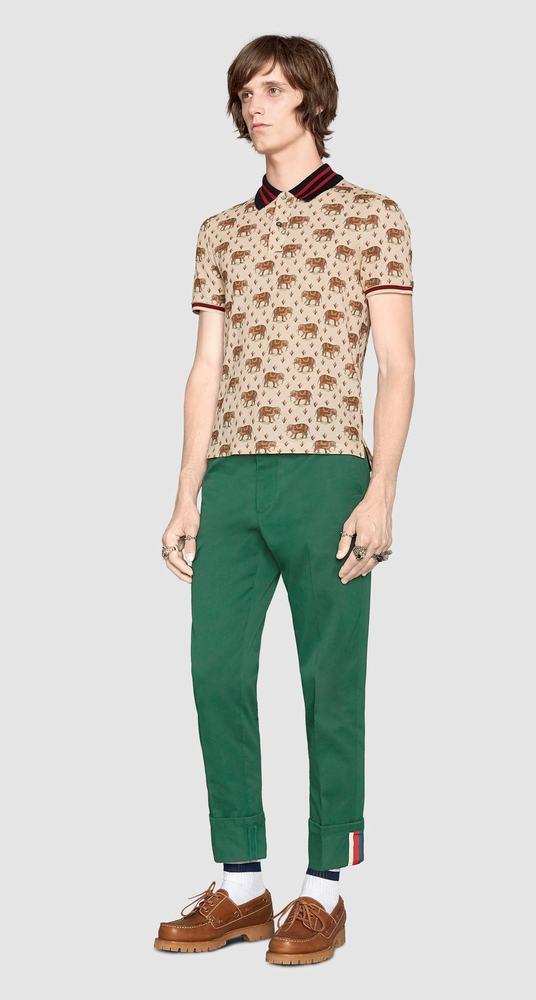 áo thun polo Gucci nam Bengal print cao cấp