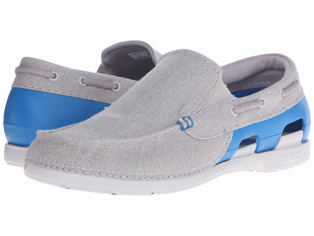 Giày lười crocs nam Beach Canvas M Vải xám chính hãng