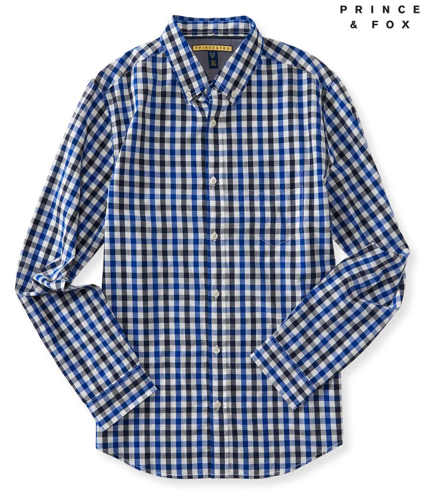 áo sơ mi nam Prince & Fox Gingham caro xanh tay dài